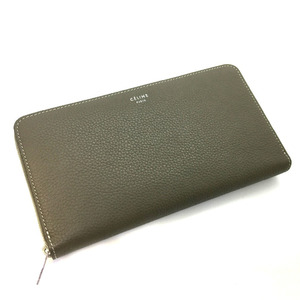 Celine Round Zipper Bicolor Long Wallet Leather Beige Ladies CELINE K81223186 PD3
