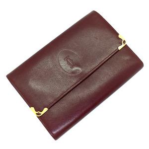 CARTIER Cartier mast purse tri-fold wallet leather Bordeaux Ladies K90401092 PD3