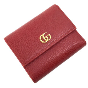 Gucci tri-fold wallet GG Marmont Leather Hibiscus Red Ladies GUCCI K90723802 PD3