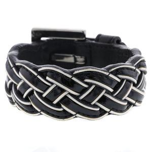 Loewe braided bracelet leather black white ladies LOEWE K90423135 PD3