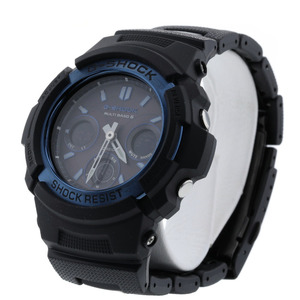 CASIO G-SHOCK Resin Stainless Steel black blue Mens Watch AWG-M100BC