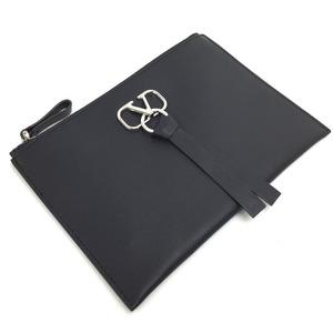 Valentino V logo ring pouch leather black Ladies VALENTINO K90823525