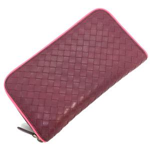 Bottega Veneta long wallet Intrecciato by color round zipper outlet product leather red Ladies BOTTEGAVENETA K91123204