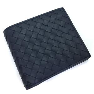 Bottega Veneta Bi-fold Wallet Intreccia Leather Navy Men BOTTEGAVENETA K91023756