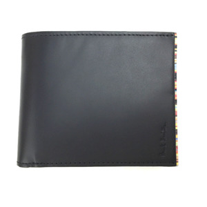 Paul Smith stripe point bi-fold wallet PSY055 cowhide black men SmithK90923455