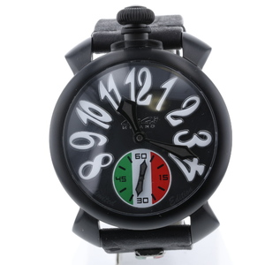 Gaga Milano Watch Manuale 48mm Black Dial 5012.LE.IT.LEAGUE Stainless Steel Leather Men K90923367