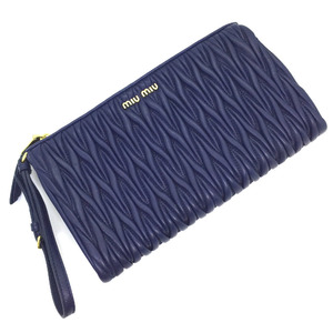 Miu Miu Miu Clutch Bag MATELASSE Materasse 5NE455 Leather BLUETTE Blue Ladies MIUMIU K90923602
