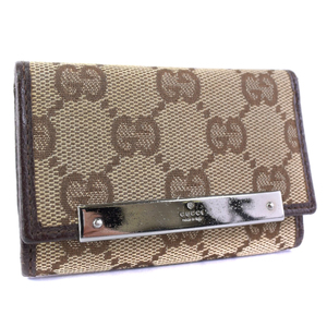 GUCCI Gucci key case 6 127048 GG canvas brown unisex