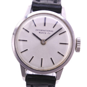 IWC Cal 412 Stainless Steel leather Hand-Winding Ladies Silver Dial