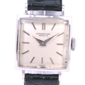 IWC Stainless Steel Leather Black Hand-Winding Ladies Silver Dial