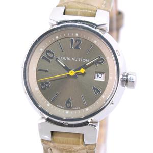 LOUIS VUITTON Tambour Stainless Steel Leather Khaki Quartz Ladies Watch Q1212