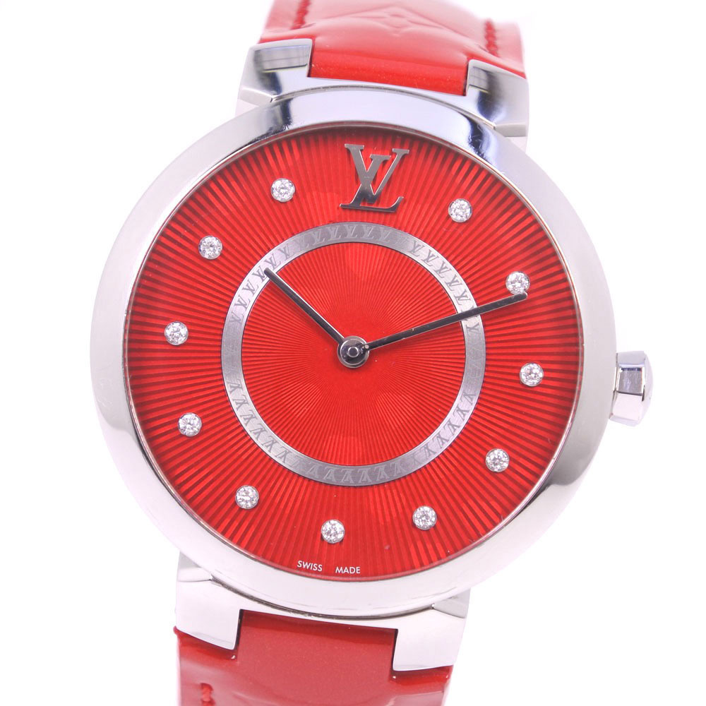 LOUIS VUITTON Tambour Cool Rouge 11P Diamond Q1G07 Stainless Steel Leather Quartz Ladies Watch