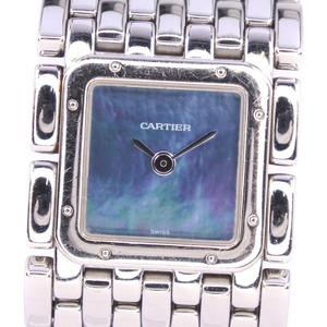 CARTIER Ruban Blue MOP Dial Steel Quartz Ladies Watch W61002T9