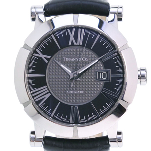 TIFFANY Atlas Gent Stainless Steel Leather Black Automatic Mens Watch
