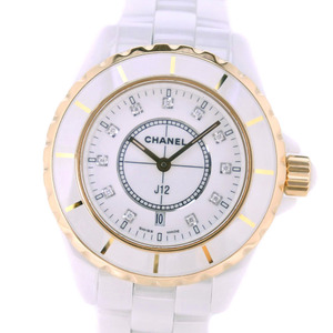 CHANEL J12 11P Diamond H2181 White Ceramic Pink Gold Quartz Ladies Watch