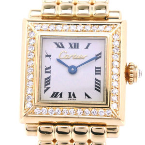 CARTIER Diamond Square 18K Gold Quartz Ladies Watch