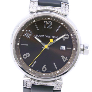 LOUIS VUITTON Tambour Diamond Q111G Stainless Steel Rubber Quartz Mens Watch
