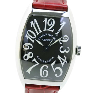 FRANCK MULLER Casablanca Stainless Steel Leather Red Automatic Mens Watch 6850