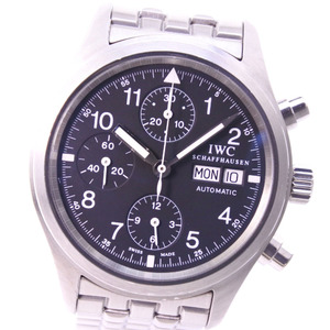IWC Frieger Chrono IW370607 Stainless Steel Silver Automatic Mens Black Dial