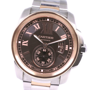CARTIER Calibre de Cartier 18K Pink Gold Steel Automatic Mens Watch W7100050