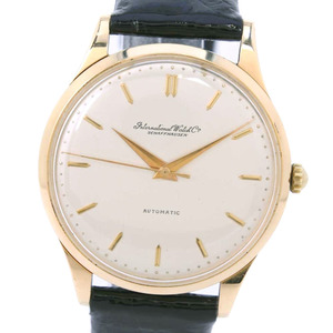 IWC Cal 853 18K Gold Leather Automatic Mens Silver Dial