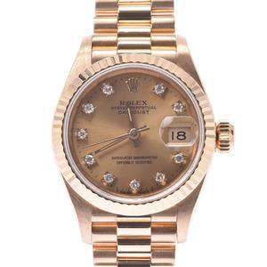 ROLEX Datejust 10P Diamond 69178G Ladies YG Watch Automatic Champagne Dial