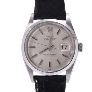 ROLEX Datejust Antique 1600 Boys SS Leather Watch Automatic Silver Dial