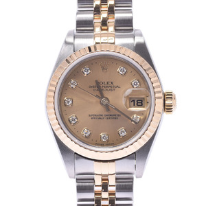 ROLEX Datejust 10P Diamond 79173G Ladies YG SS Watch Automatic Champagne dial