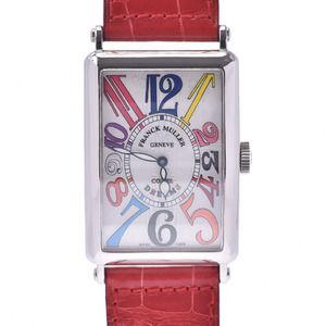 FRANCK MULLER Long Island Color Dreams 1200SC Boys SS Leather Watch Automatic White Dial