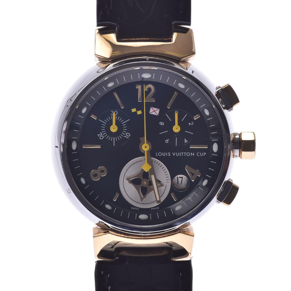 LOUIS VUITTON Tambour Chrono LV Cup Q1325 Boys SS YG Leather Watch Quartz Black Dial