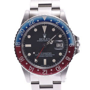 ROLEX GMT Master Red Blue Bezel Pepsi 16750 Mens SS Watch Automatic Black Dial