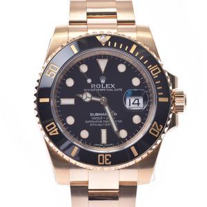 ROLEX Submarina Black Bezel 116618LN Mens YG Watch Automatic Dial