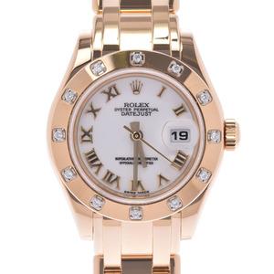 ROLEX Datejust Pearl Master 12P Diamond 80318 Ladies YG Watch Automatic White Roman Dial