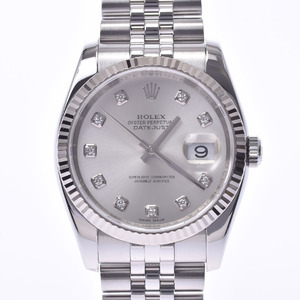 ROLEX Datejust 10P Diamond Roulette Engraved 116234G Mens WG SS Watch Automatic