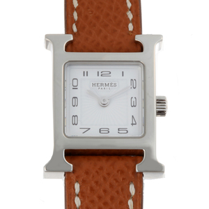 HERMES H Watch Mini Ladies HH1.110.131 Stainless Steel White Guilloche Arabian Dial