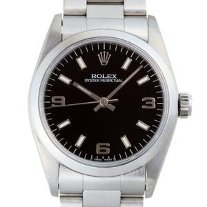 ROLEX Oyster Perpetual T-Number 1995 Ladies\' Mens Watch 67480 Stainless Steel Black Arabian Dial