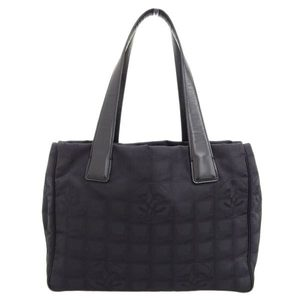 Chanel New Travel Line Tote PM Bag Black 8th Leather
