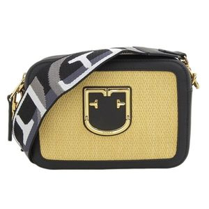 Furla Leather / Straw Brava Mini Shoulder Bag Black Beige