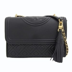 Tory Burch Leather Chain Shoulder Bag Black