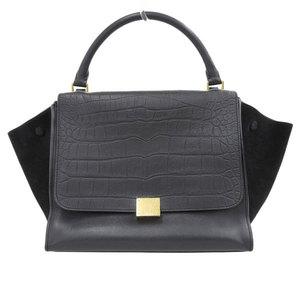 Celine Trapeze 2way Shoulder Tote Bag Black Leather