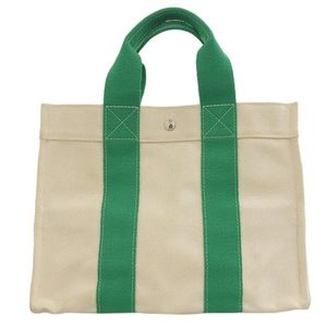 Hermes Canvas Bora Tote Bag White / Green Leather