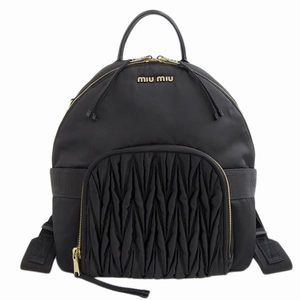 MIUMIU nylon backpack black gold hardware 5BZ019 leather