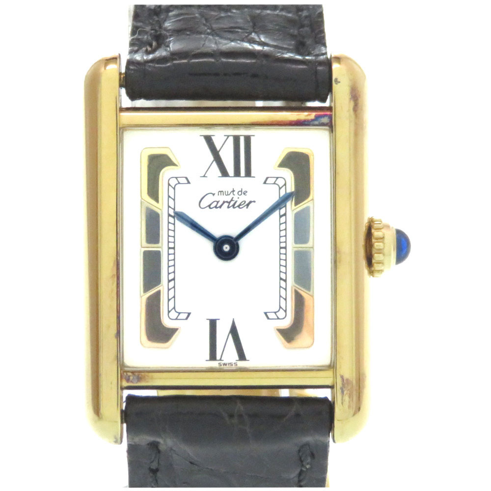 CARTIER Must Tank Vermeil Trinity Quartz Ladies Watch 5057001