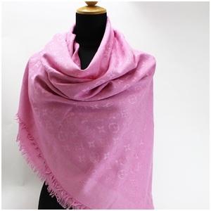 Louis vuitton monogram large format stall shawl pink silk wool 136 x cm LOUIS VUITTON