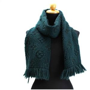 Louis Vuitton Muffler Essharpe Logomania 413287 94% wool 6% silk Dark green 154 x 27 cm LOUIS VUITTON