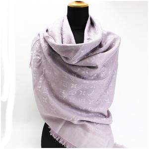 Louis Vuitton Monogram Large Format Stall Shawl Purple Silk Wool 142 × 144cm LOUIS VUITTON