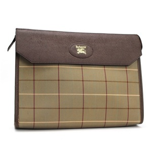 Burberry Second Bag Clutch Check Pattern Khaki × Dark Brown BURBERRYS