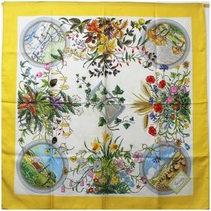 Gucci Silk Scarf White x Yellow Flora Floral GUCCI