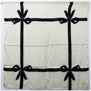 Chanel scarf silk ribbon white x black CHANEL