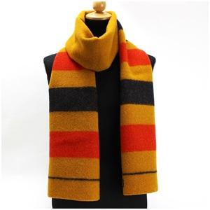 HERMES wool scarf rocabal mustard yellow border pattern 180 × 29 cm